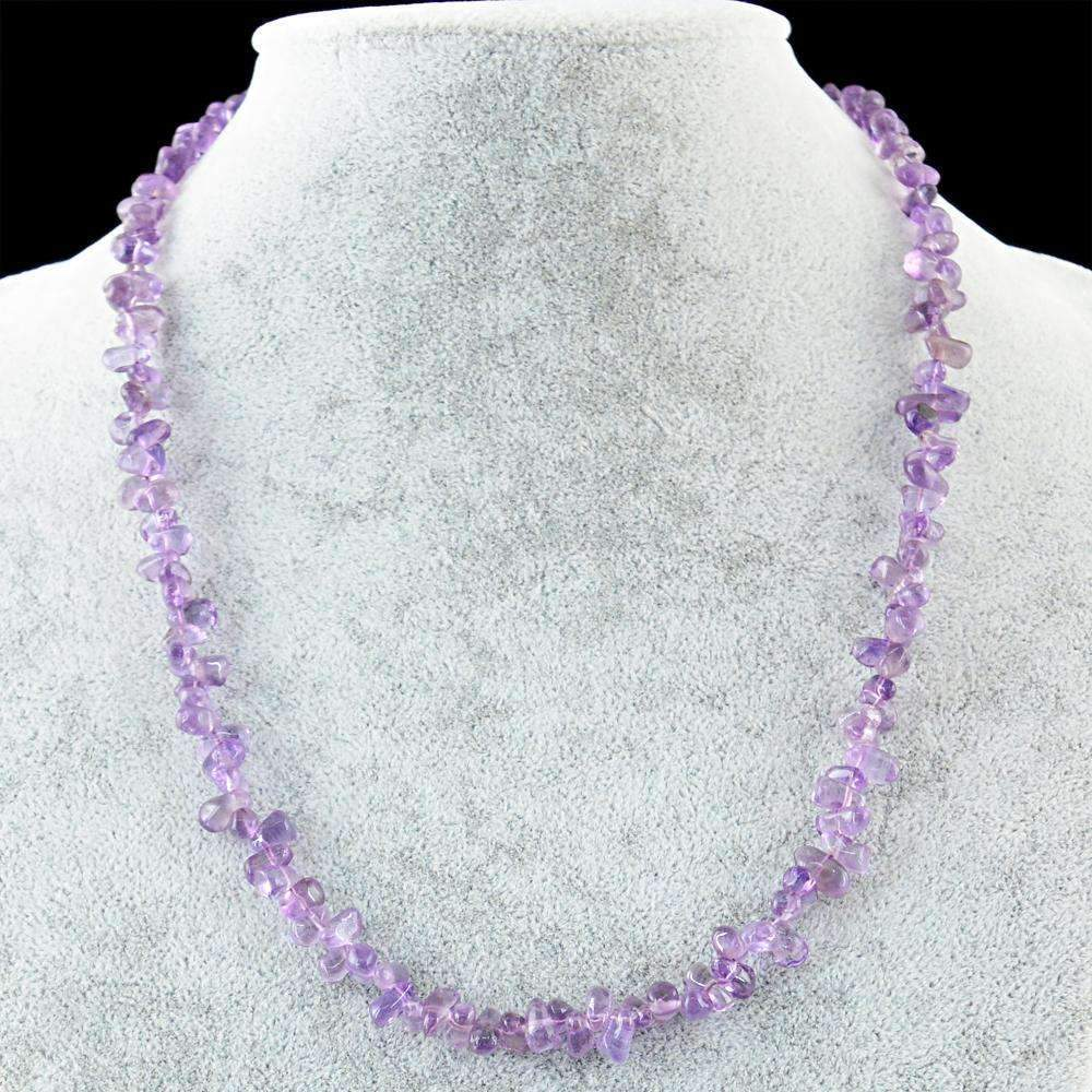 gemsmore:Natural Purple Amethyst Necklace Untreated Tear Drop Beads