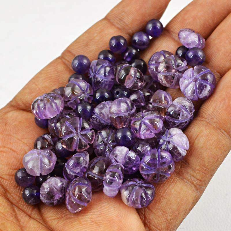 gemsmore:Natural Purple Amethyst Round Shape Carved Beads Lot - Drilled
