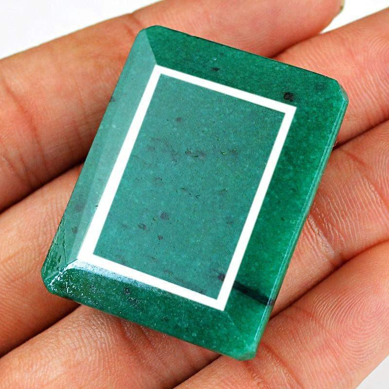gemsmore:Natural Rectangular Shape Green Emerald Gemstone