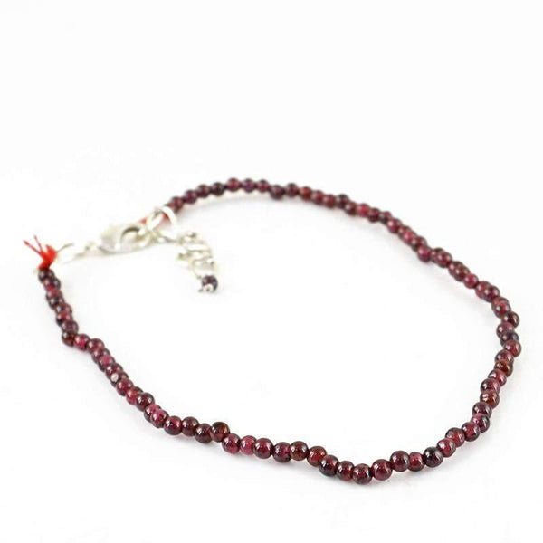 gemsmore:Natural Red Garnet Bracelet Round Shape Beads