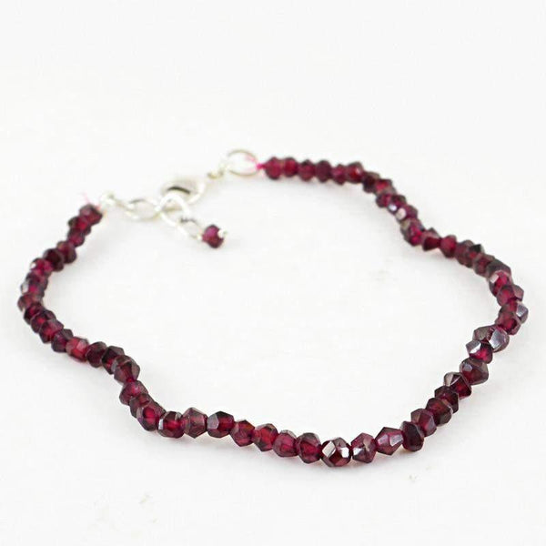 gemsmore:Natural Red Garnet Bracelet Round Shape Faceted Beads