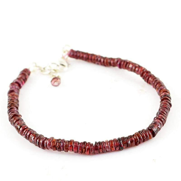 gemsmore:Natural Red Garnet Bracelet Round Shape Unheated Beads