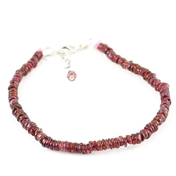 gemsmore:Natural Red Garnet Bracelet Unheated Round Shape Beads