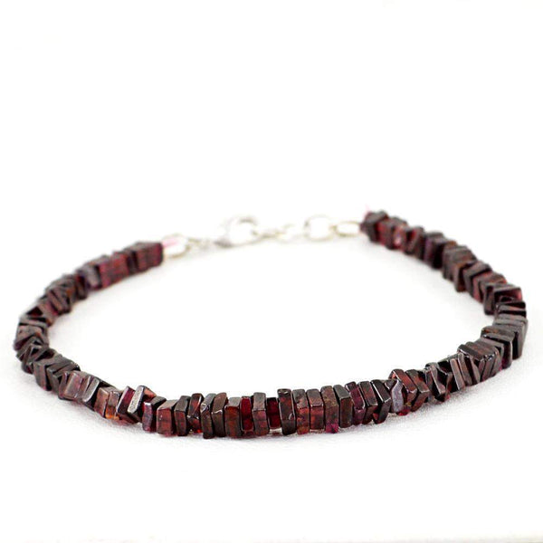 gemsmore:Natural Red Garnet Bracelet Untreated Beads