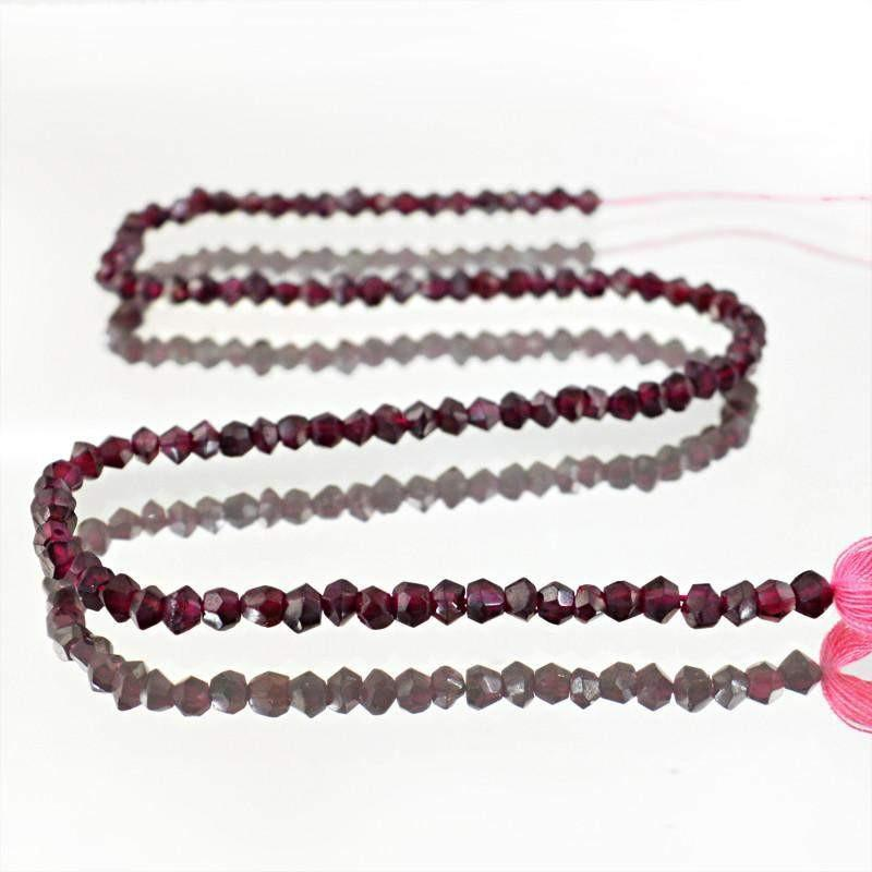 gemsmore:Natural Red Garnet Round Shape Beads Strand