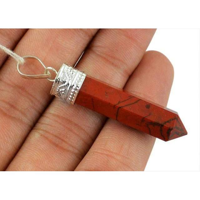 gemsmore:Natural Red Jasper Healing Point Pendant