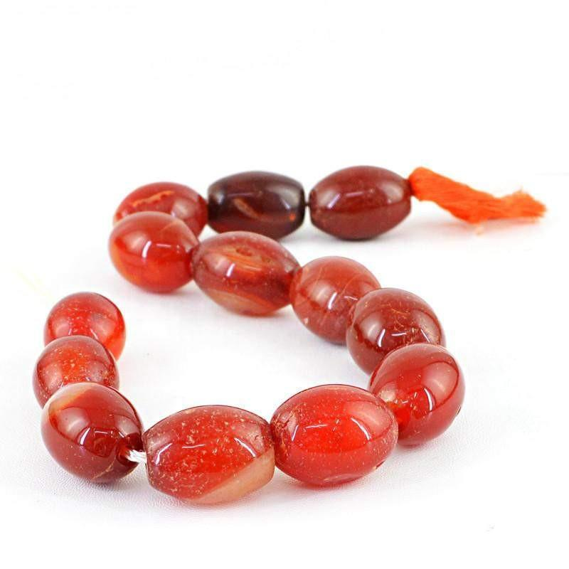 gemsmore:Natural Red Onyx Oval Shape Beads Strand