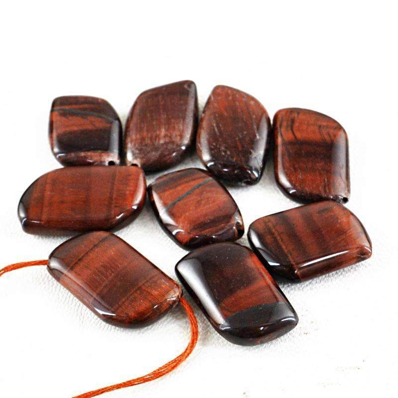 gemsmore:Natural Red Power Tiger Eye Beads Lot - Drilled