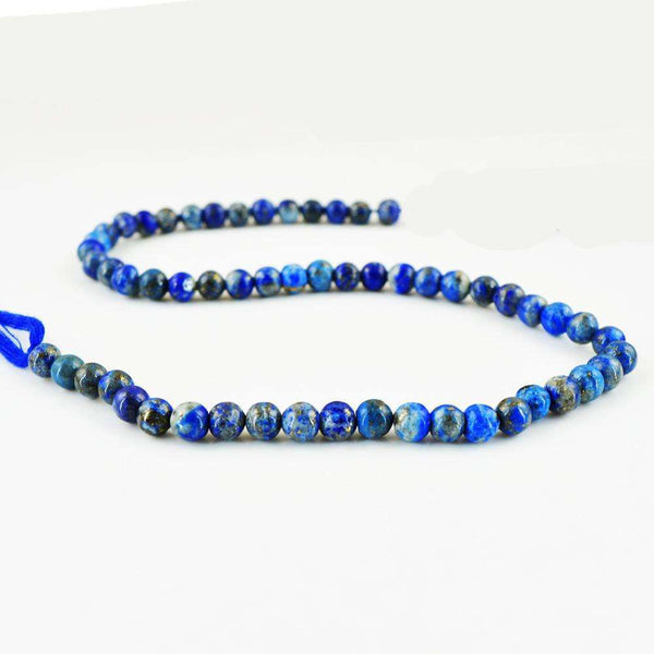 gemsmore:Natural Round Shape Blue Lapis Lazuli Drilled Beads Strand
