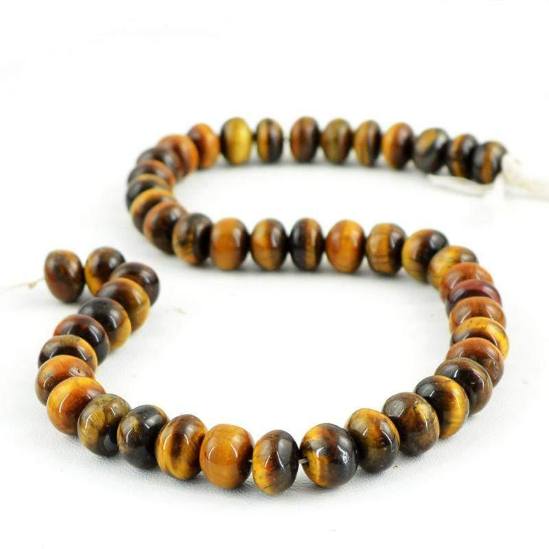 gemsmore:Natural Round Shape Golden Tiger Eye Beads Strand