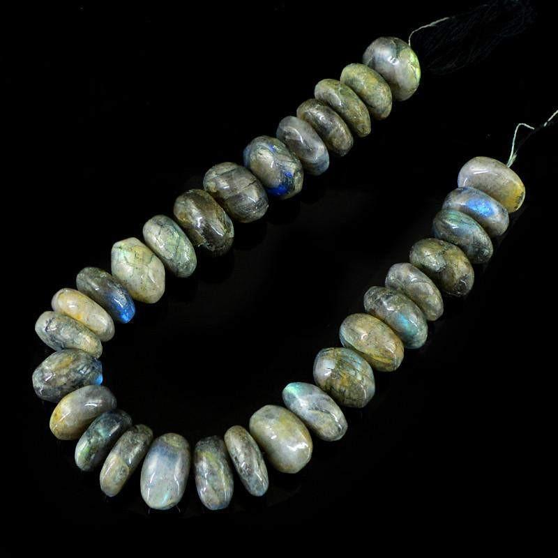 gemsmore:Natural Round Shape Labradorite Unheated Beads Strand