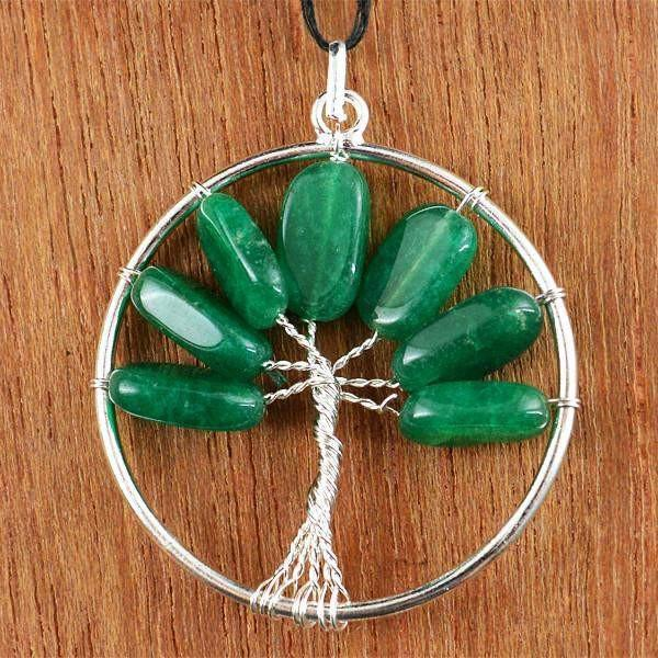 gemsmore:Natural Round Shape Untreated Green Jade Pendant