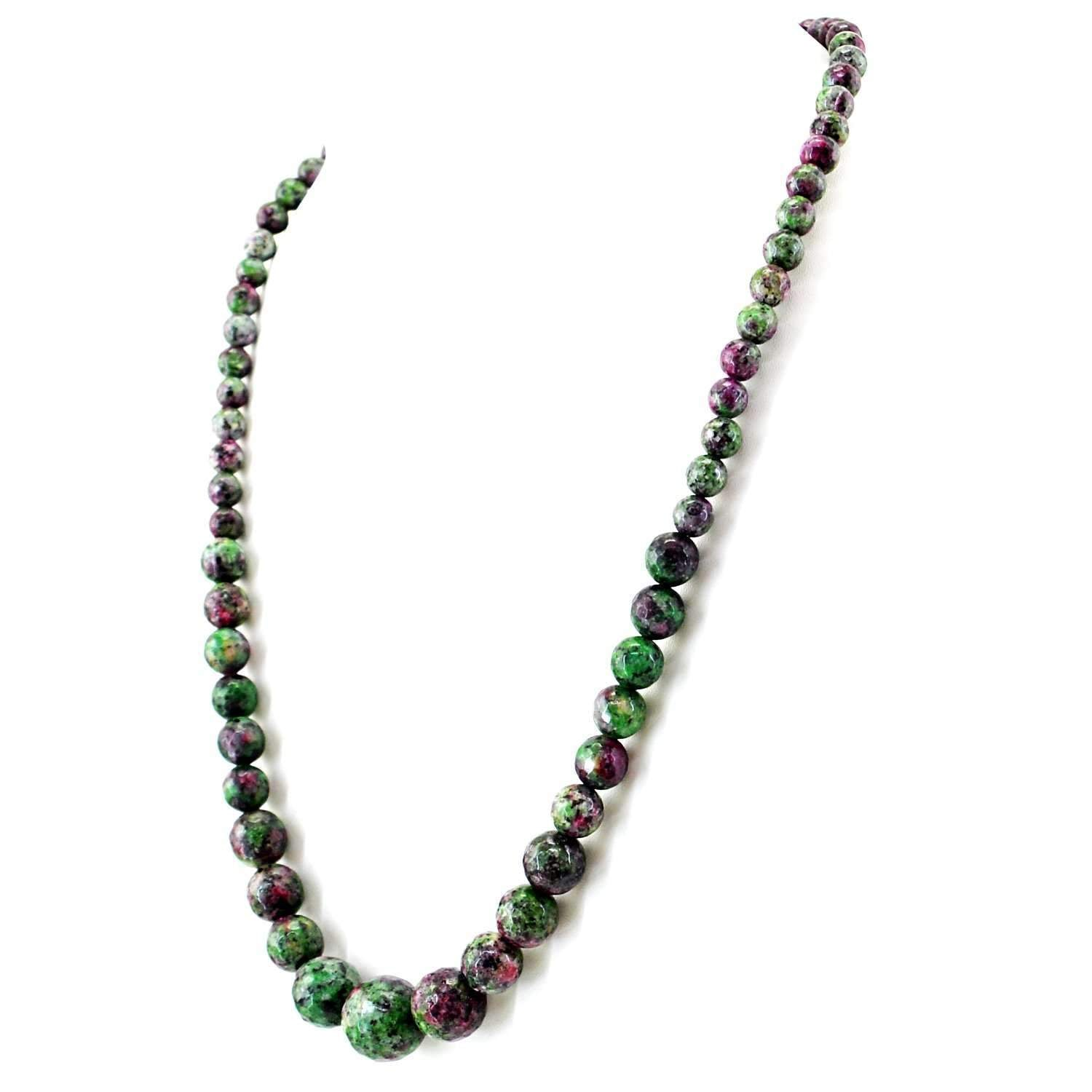 gemsmore:Natural Ruby Ziosite Necklace Untreated Round Cut beads