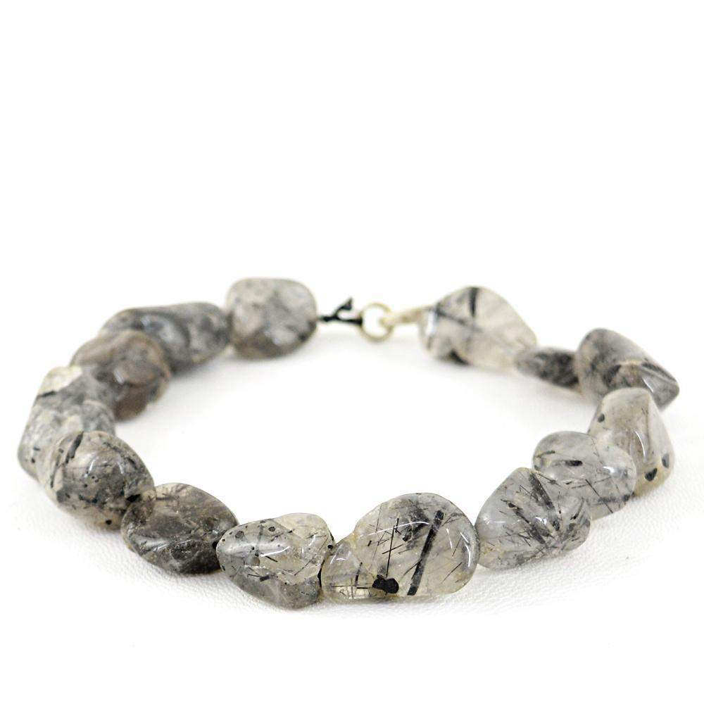 gemsmore:Natural Rutile Quartz Bracelet Untreated Beads