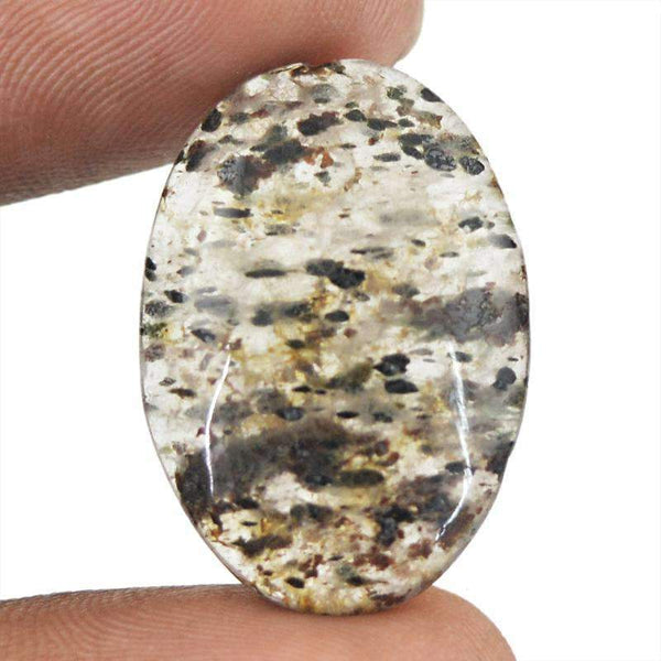gemsmore:Natural Rutile Quartz Gemstone - Oval Shape
