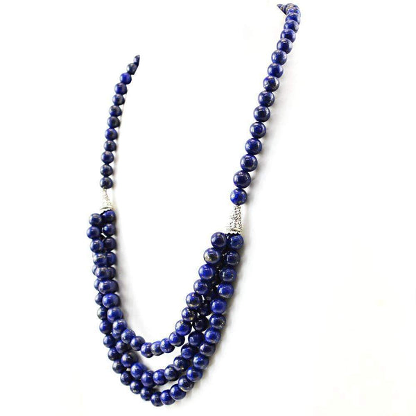 gemsmore:Natural Single Strand Blue Lapis Lazuli Necklace Round Shape Beads