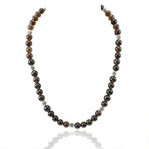 gemsmore:Natural Smoky Quartz Attractive Round Beads Necklace