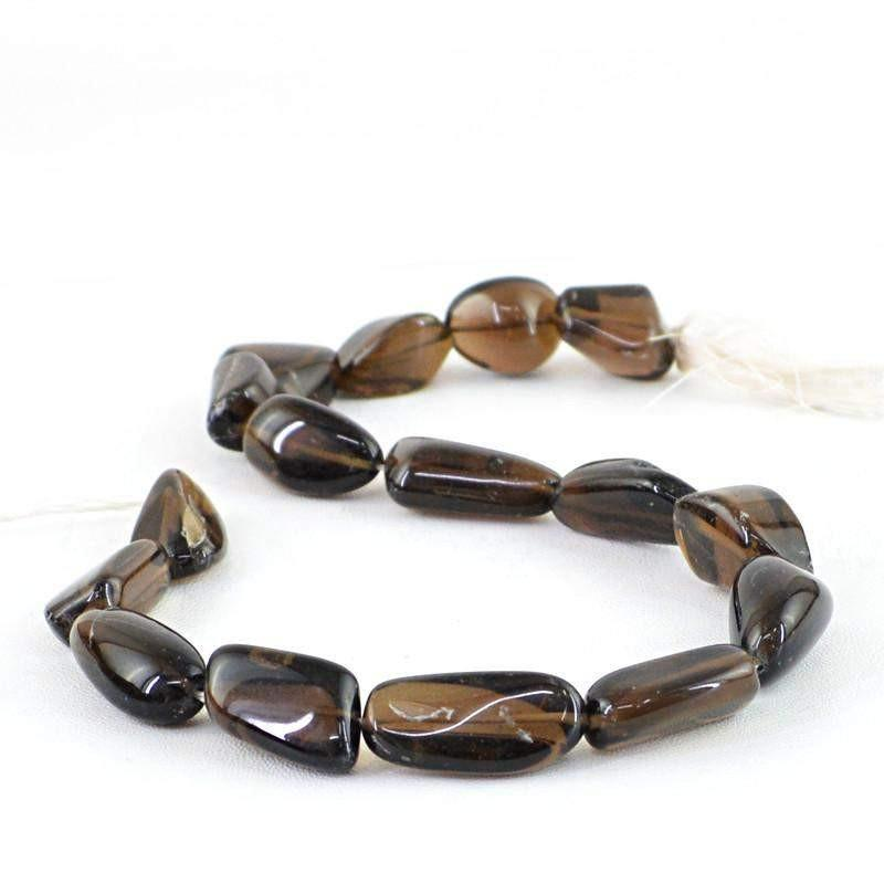 gemsmore:Natural Smoky Quartz Beads Strand