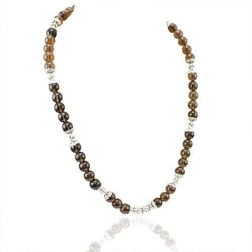 gemsmore:Natural Smoky Quartz Beautiful Beads Necklace