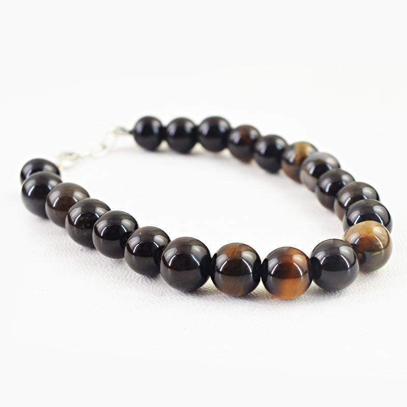 gemsmore:Natural Smoky Quartz Bracelet Round Shape Untreated Beads