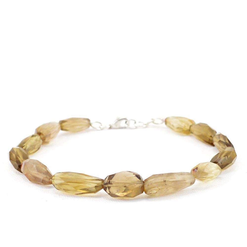 gemsmore:Natural Smoky Quartz Bracelet Untreated Faceted Beads