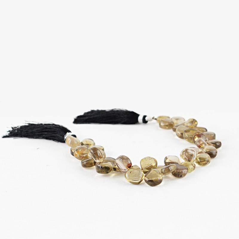 gemsmore:Natural Smoky Quartz Pear Shape Beads Strand