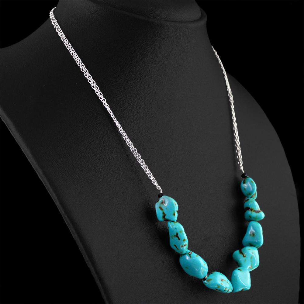 gemsmore:Natural Turquoise Necklace Untreated Beads - Best Quality