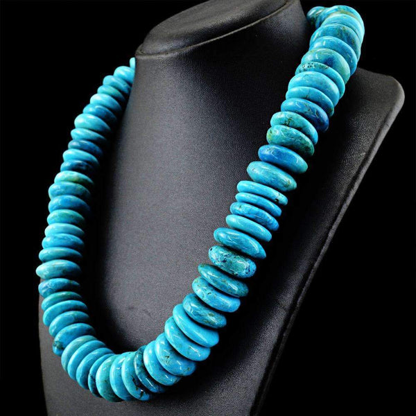 gemsmore:Natural Turquoise Necklace Untreated Round Shape Beads