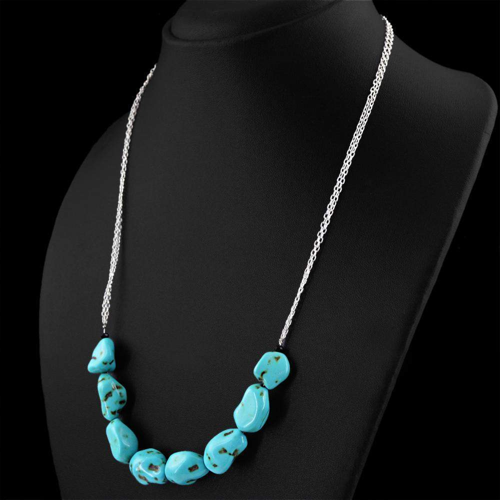 gemsmore:Natural Turquoise Necklace Untreated Single Strand Beads