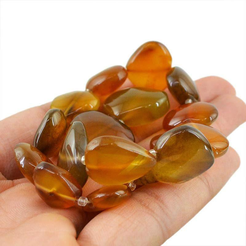 gemsmore:Natural Unheated Brown Onyx Heart Shape Beads Strand