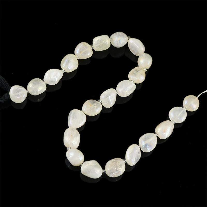 gemsmore:Natural Unheated Drilled Coated White Agate Beads Strand