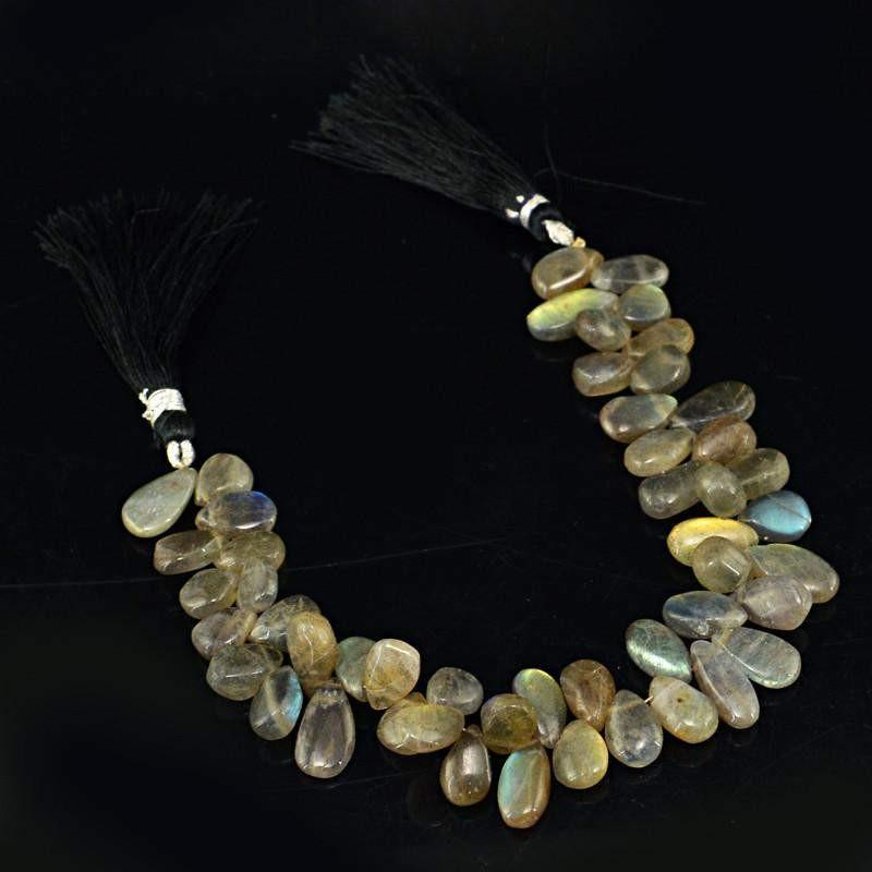 gemsmore:Natural Unheated Golden Flash Labradorite Beads Strand
