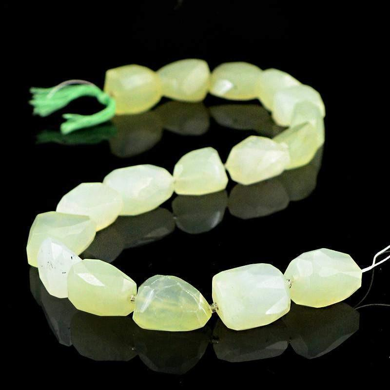 gemsmore:Natural Unheated Green Aquamarine Faceted Beads Strand