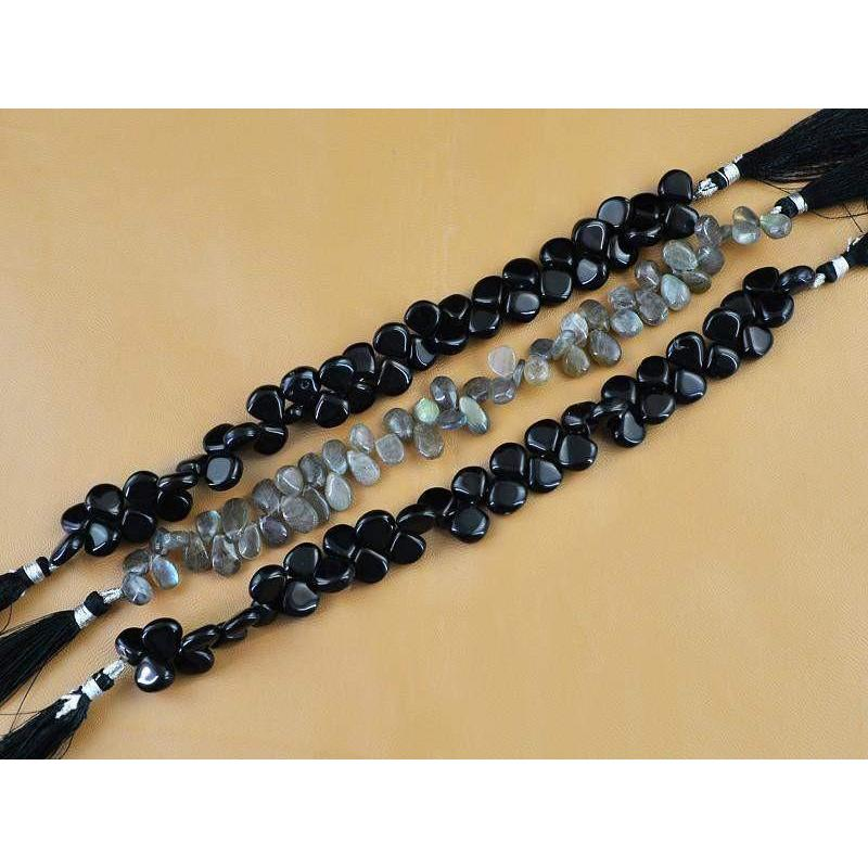 gemsmore:Natural Unheated Labradorite & Black Onyx Beads Strands