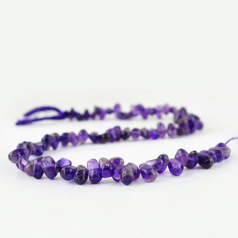 gemsmore:Natural Unheated Purple Amethyst Drilled Beads Strand
