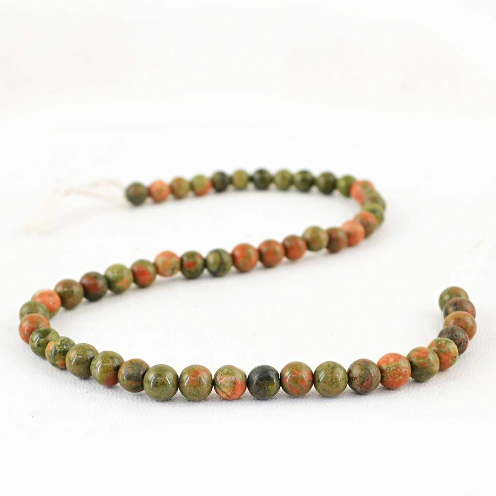 gemsmore:Natural Untreated Blood Green Unakite Beads Strand