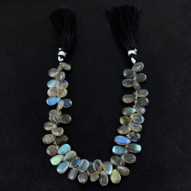 gemsmore:Natural Untreated Blue Flash Labradorite Pear Beads Strand