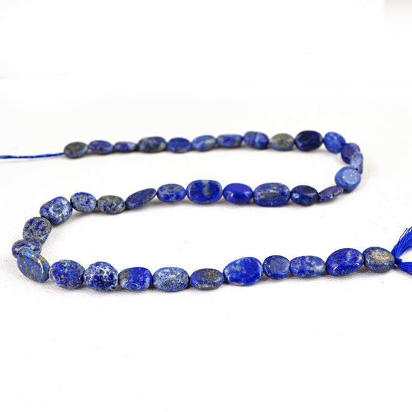 gemsmore:Natural Untreated Blue Lapis Lazuli Beads Strand - Drilled