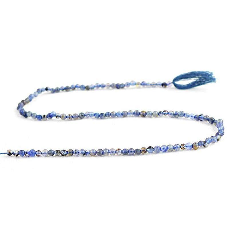 gemsmore:Natural Untreated Blue Tanzanite Round Beads Strand