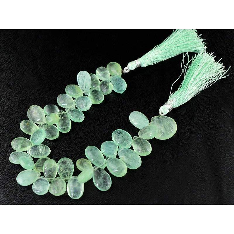 gemsmore:Natural Untreated Green Fluorite Drilled Beads Strand