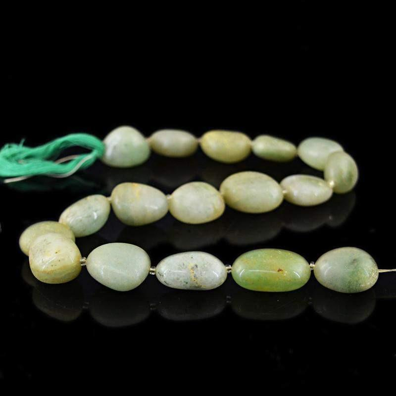 gemsmore:Natural Untreated Green Jade Beads Strand