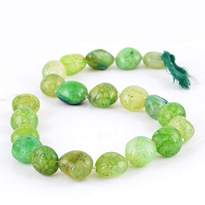 gemsmore:Natural Untreated Green Onyx Beads Strand