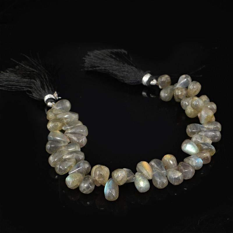 gemsmore:Natural Untreated Labradorite Drilled Beads Strand