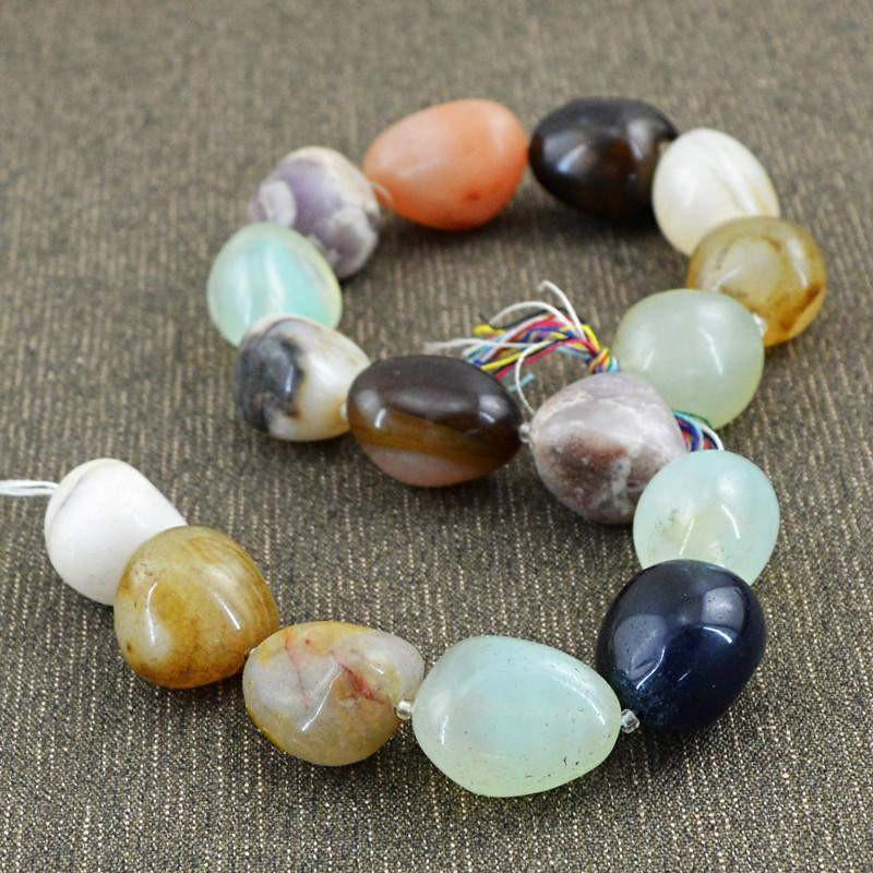 gemsmore:Natural Untreated Multi Gemstone Drilled Beads Strand