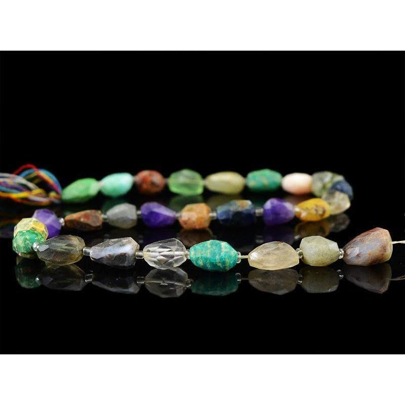 gemsmore:Natural Untreated Multi Gemstone Faceted Beads Strand