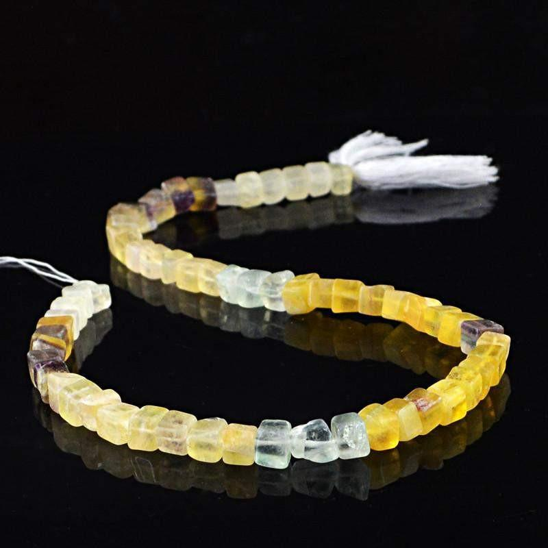 gemsmore:Natural Untreated Multicolor Fluorite Beads Strand