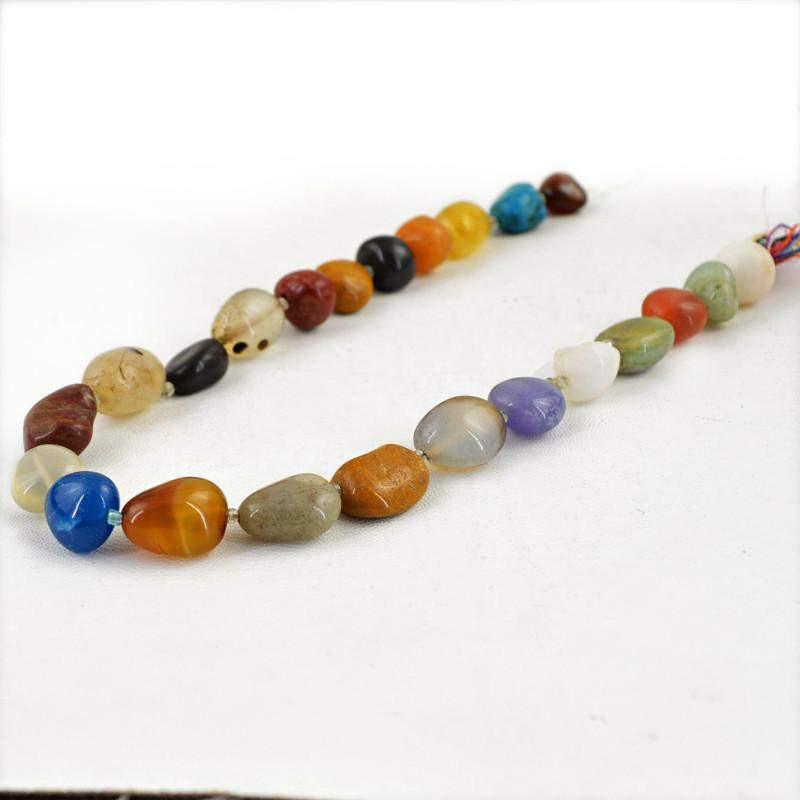 gemsmore:Natural Untreated Multicolor Multi Gemstone Drilled Beads Strand