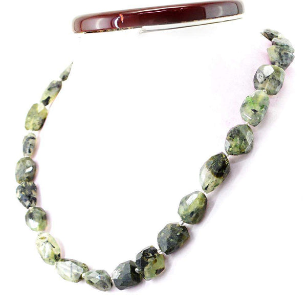 gemsmore:Natural Untreated Phrenite Necklace Faceted Beads
