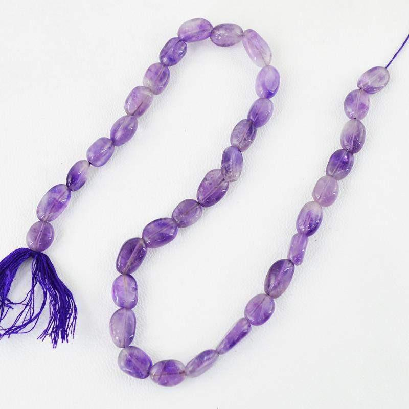 gemsmore:Natural Untreated Purple Amethyst Oval Shape Beads Strand