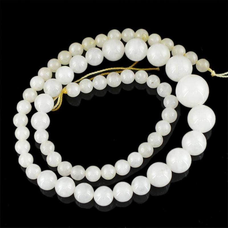 gemsmore:Natural Untreated White Agate Round Beads STrand